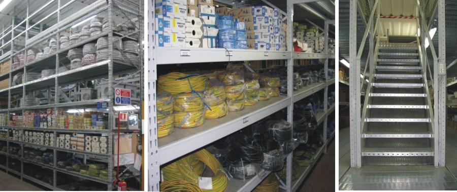 scaffalature metalliche per punto vendita settore elettrico a due livelli modello E40 euroscaffale
