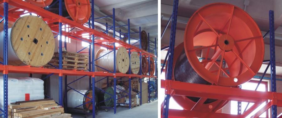 scaffalature metalliche porta bobine per tubi oleodinamici modello E90 euroscaffale