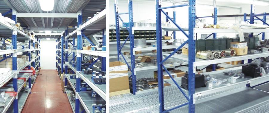 scaffalatura industriale per allestimento punto vendita meccanica con camminamento superiore modello E90 euroscaffale