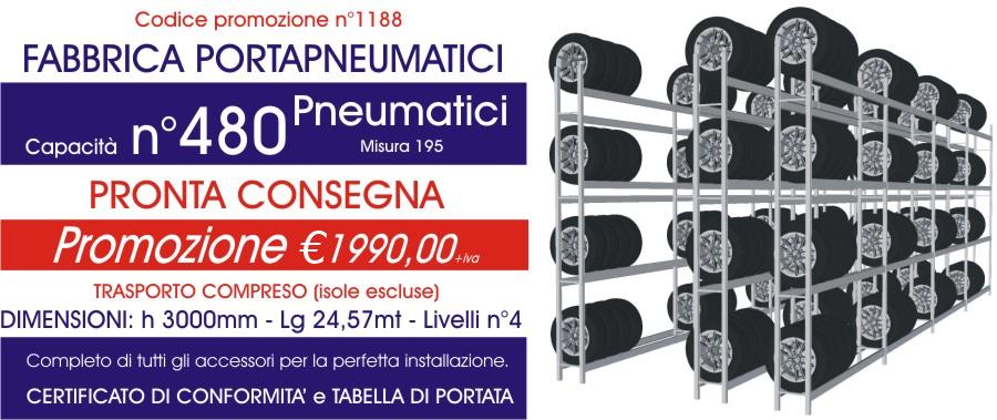 Offerta scaffali metallici porta gomme 1188 con n° 480 pneumatici modello E40 euroscaffale