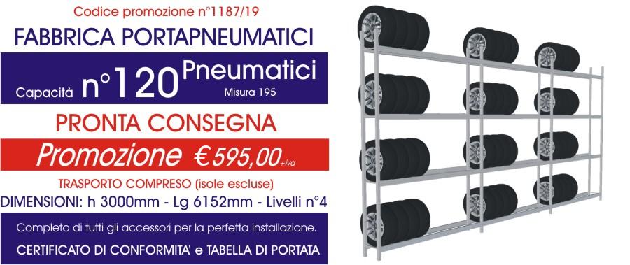 Offerta scaffali metallici porta gomme 1187 con n° 120 pneumatici modello E40 euroscaffale