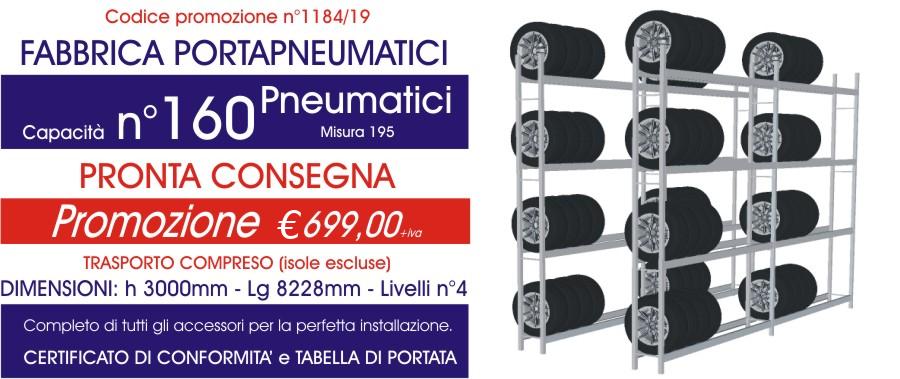 Offerta scaffali metallici porta gomme 1184 con n° 160 pneumatici modello E40 euroscaffale