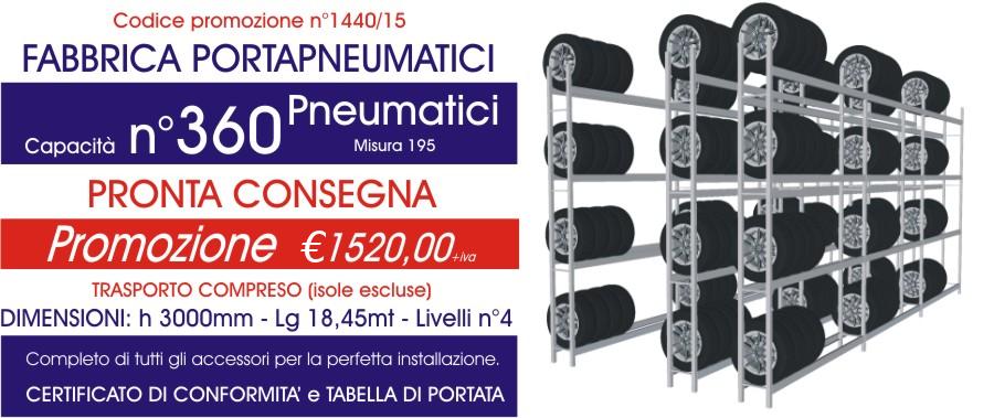 Offerta scaffali metallici porta gomme 1440 con n° 360 pneumatici modello E40 euroscaffale