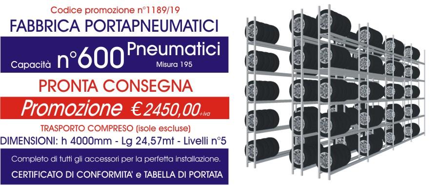 Offerta scaffali metallici porta gomme 1189 con n° 600 pneumatici modello E40 euroscaffale
