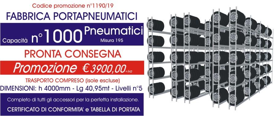 Offerta scaffali metallici porta gomme 1190 con n° 1000 pneumatici modello E40 euroscaffale