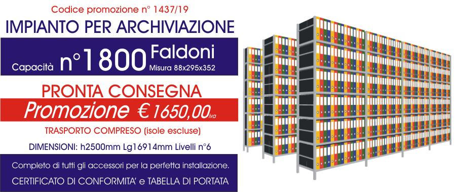 Offerta scaffali metallici per archiviazione faldoni 1437 con n° 1800 faldoni modello E40 euroscaffale
