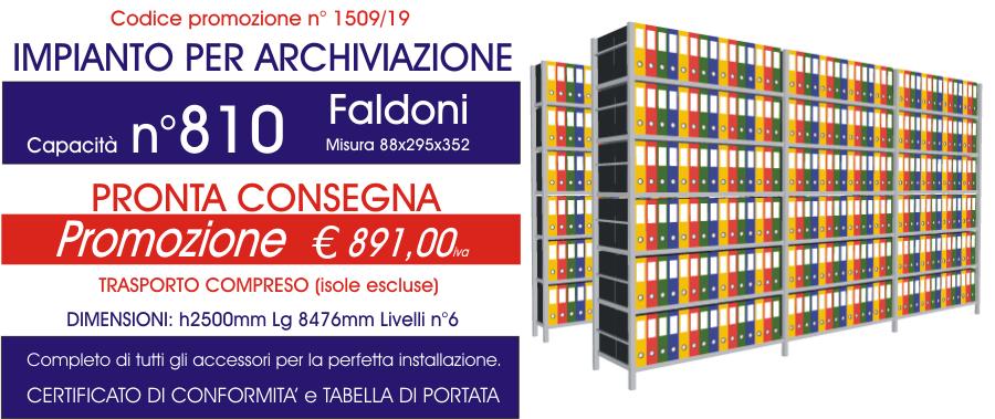 prezzo scontato scaffali metallici per archiviazione faldoni 1509 con n° 810 faldoni modello E40 euroscaffale