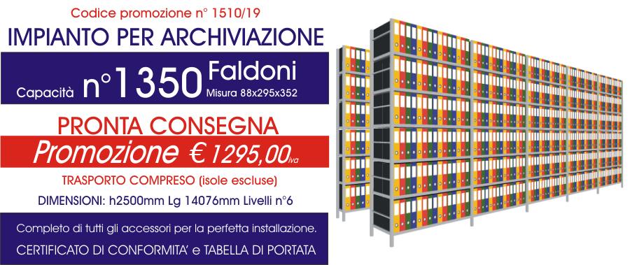 Offerta scaffali metallici per archiviazione faldoni 1510 con n° 1350 faldoni modello E40 euroscaffale