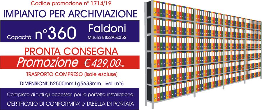 Offerta scaffali metallici per archiviazione faldoni 1714 con n° 360 faldoni modello E40 euroscaffale