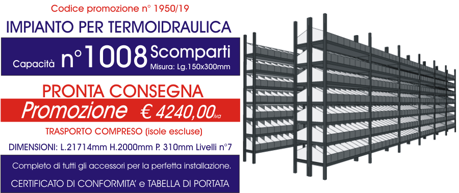 prezzo scontato scaffalature per magazzino termoidraulica con 1008 scomparti modello E40 euroscaffale