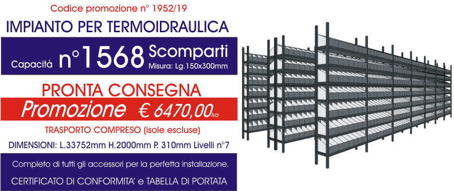 prezzo scontato scaffali per magazzino termoidraulica con 1568 scomparti modello E40 euroscaffale