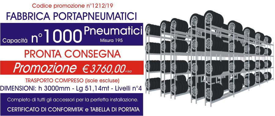 Offerta scaffali metallici porta gomme 1212 con n° 100 pneumatici modello E40 euroscaffale