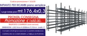 offerta scaffalature metalliche per ricambi solo piano da 176,40 metri E40 euroscaffale