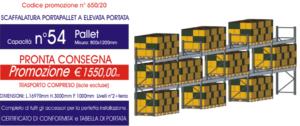 offerta per scaffalature metalliche portapallet modello E90 Euroscaffale con 54 posti pallet