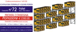 offerta per scaffalature portapallet modello E90 Euroscaffale per meccanica e forniture industriali con 72 posti pallet