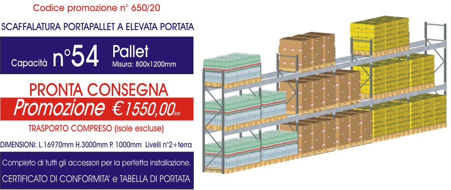 offerta per scaffalature metalliche porta pallet modello E90 Euroscaffale da 54 posti pallet