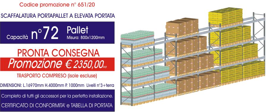 offerta per scaffalature porta pallet modello E90 Euroscaffale da 72 posti pallet