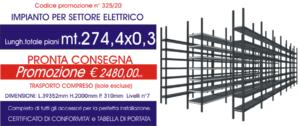 offerta scaffalature metalliche in pronta consegna per settore elettrico modello E40 Euroscaffale da 274,40 mt lineari