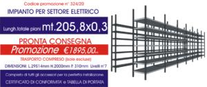 promozione scaffalatura industriale professionale settore elettrico per carico manuale modello E40 Euroscaffale da 205,80 mt lineari