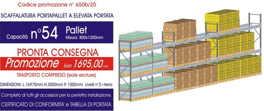 offerta per scaffalatura industriale portapallet da 54 posti modello E90 euroscaffale