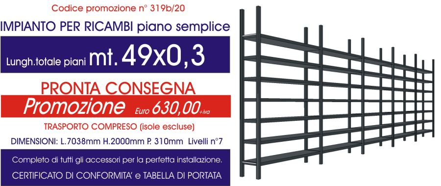 offerta scaffali metallici per settore ricambi piano semplice da 49 metri lineari modello E40 Euroscaffale