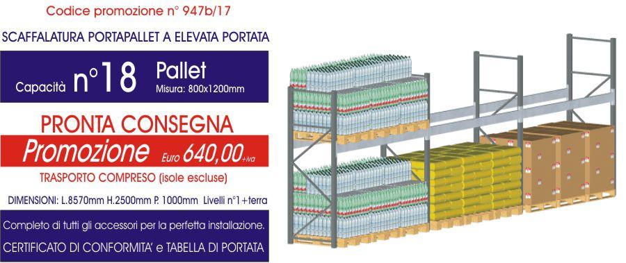 prezzo promozionale per scaffalature industriali portapallet 18 posti modello E90 euroscaffale
