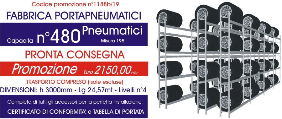 promozione scaffalature per gommisti da 480 pneumatici modello E40 euroscaffale