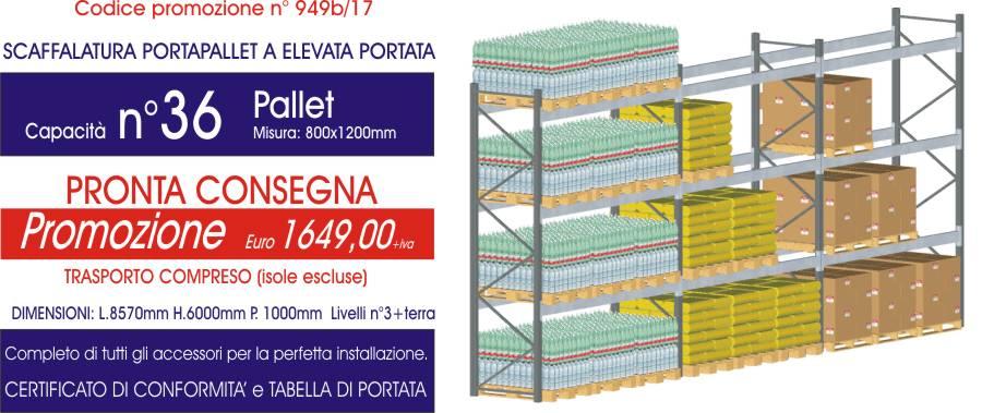 promozioni sottocosto per scaffali metallici portapallet da 36 posti modello E90 euroscaffale