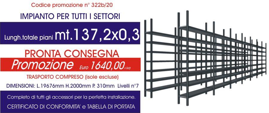 costo promozionale scaffali magazzino per tutti i settori con 137,20 mt di piano modello E40 euroscaffale