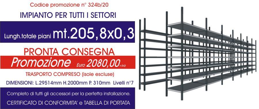 offerta scaffalature magazzino per tutti i settori con 205,8 mt di piano modello E40 euroscaffale