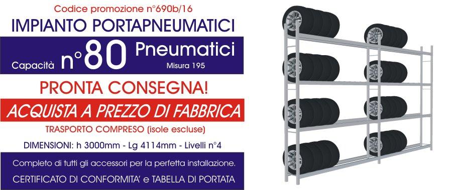 costo promozionale scaffalature metalliche industriali per gommisti da 80 pneumatici modello E40 euroscaffale