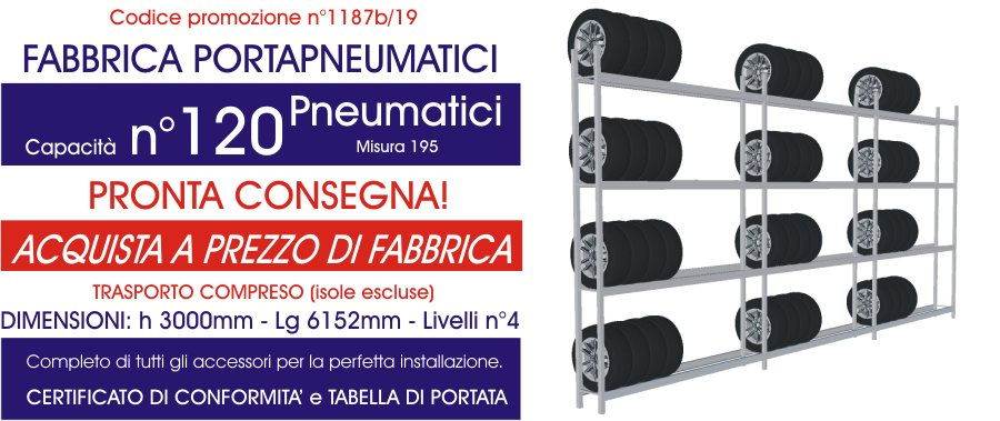 offerta scaffalatura industriale porta pneumatici modello E40 euroscaffale
