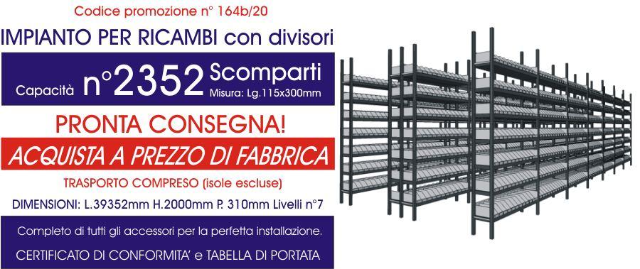 offerta scaffalatura industriale per ricambi con 2352 scomparti E40 euroscaffale