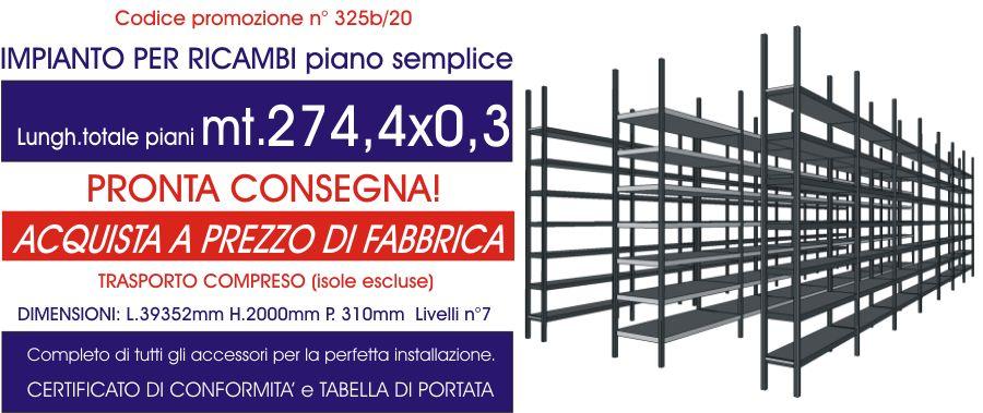 offerta scaffalatura industriale per ricambi con piano semplice E40 euroscaffale da 274,80 mt lineari