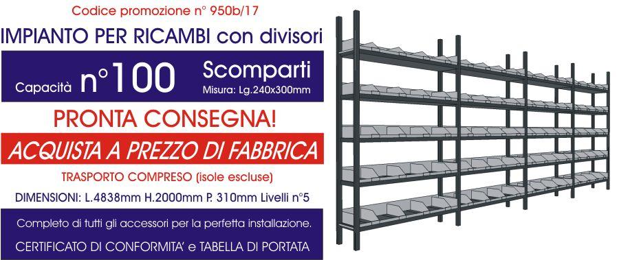 offerta scaffali metallici per ricambi con soluzione da 100 scompartimenti modello E40 euroscaffale