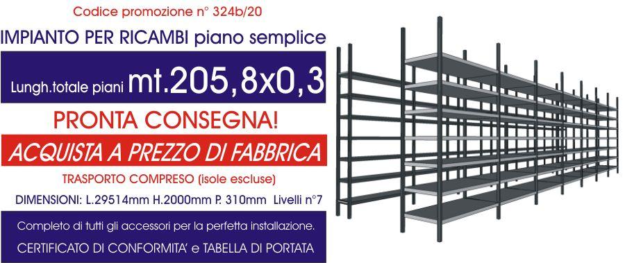 offerta scaffalature magazzino ricambi con piano semplice da 205,80 metri lineari E40 euroscaffale