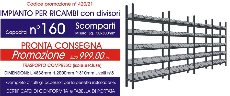 offerta scaffali metallici per ricambi con soluzione da 160 scompartimenti modello E40 euroscaffale