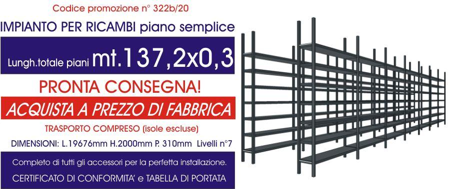 offerta scaffali per magazzino ricambi con piano semplice modello E40 euroscaffale da 137,20 mt lineari