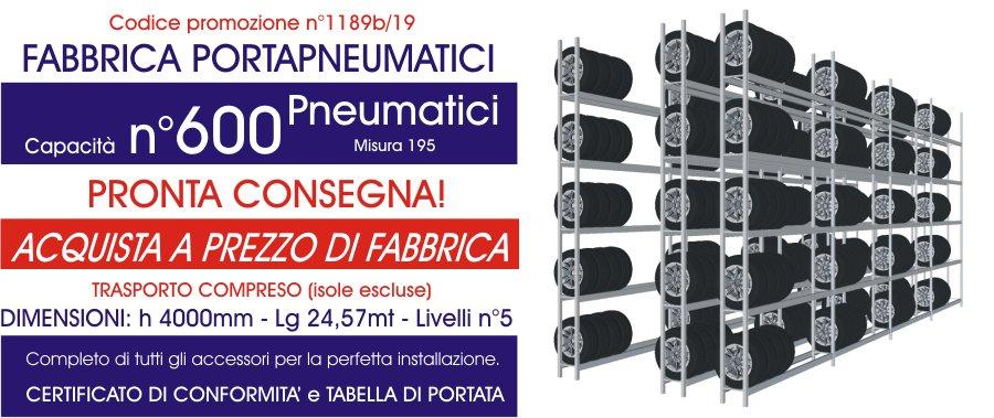 promozioni sottocosto per scaffali ad incastro pneumatici modello E40 euroscaffale
