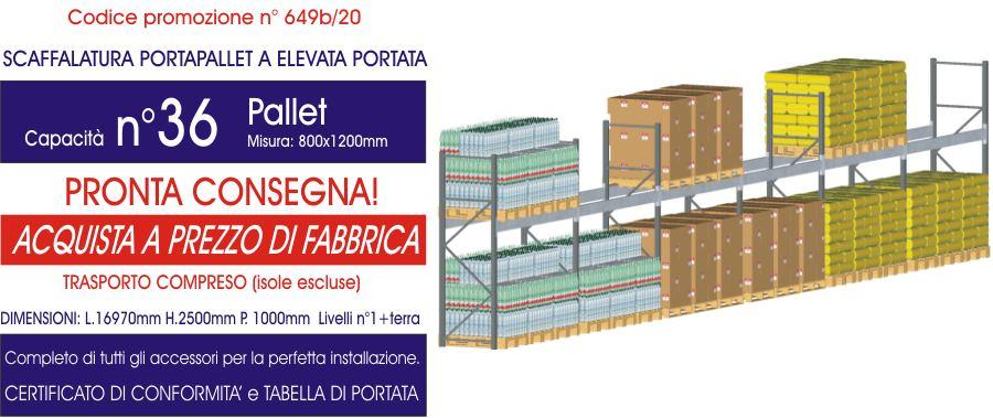 costo promozionale scaffalature metalliche industriali da 36 posti pallet modello E90 euroscaffale