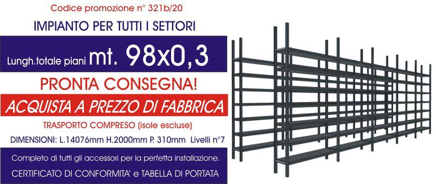 offerta scaffalature ad incastro per tutti i settori da 98 mt di piano modello E40 euroscaffale