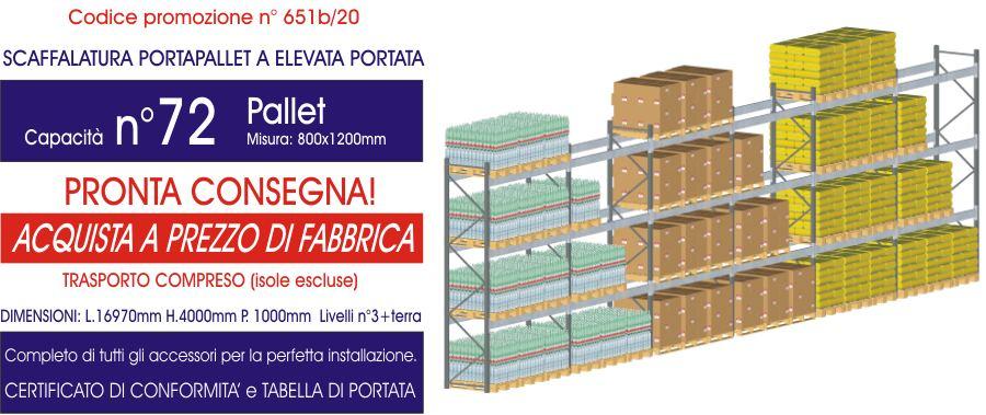 offerta scaffale portapallet da 72 posti modello E90 euroscaffale
