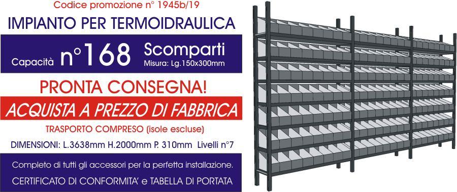 offerta scaffali metallici per termoidraulica con 168 scomparti modello E40 euroscaffale