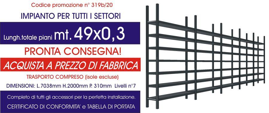 offerta scaffali metallici tutti i settori con 49 mt di piano modello E40 euroscaffale