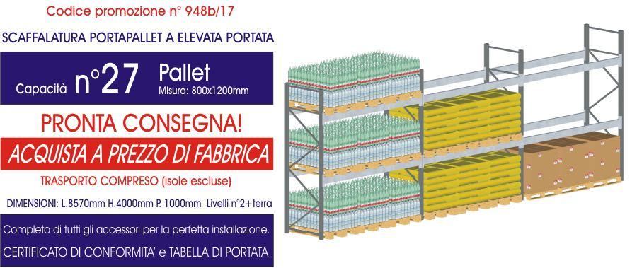 promozione scaffalature metalliche industriali porta pallet da 27 posti modello E90 euroscaffale