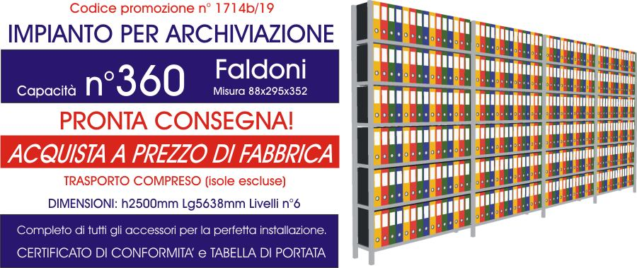 promozioni sottocosto scaffali metallici professionali per archivio da 360 faldoni modello E40 euroscaffale