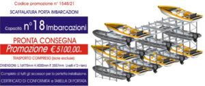 scaffalature industriali porta imbarcazioni capacità 18 posti barche modello E90 euroscaffale