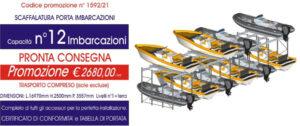 scaffali metallici industriali per rimessaggio barche con capacità 12 imbarcazioni modello E90 euroscaffale